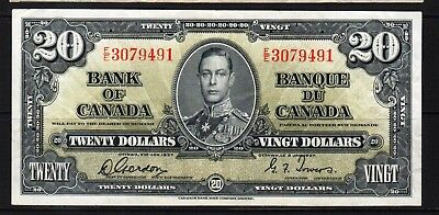 "Canada - 1937 Bank of Canada 20 Dollar Banknote P62b VF+ ""King George VI"""
