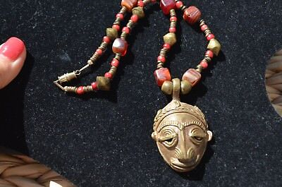 Vintage Bronze Brass Handmade African MASK FACE Necklace TRIBAL Figurine