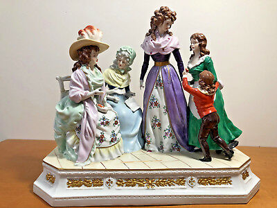 Stunning 19C Sitzendorf Porcelain Figural Group, Four Women and a Child
