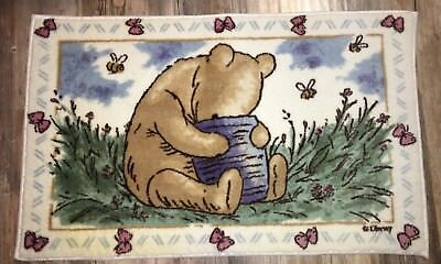 "Sweet Winnie the Pooh Throw Rug 36"" x 22"" Thick with Rubber Mat Disney"