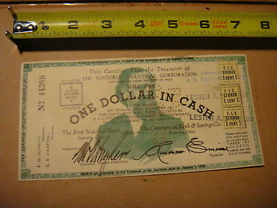 vintage F.I.C. Fostoria corp. 44388 one dollar & fic stamps