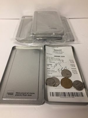 2 American Express Silver Metal Tip Trays Check Presenters New