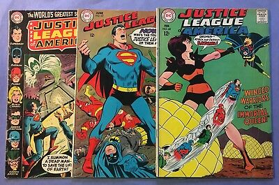 Justice League of America, lot of 3 comic Books, #s 60, 63, and 83.