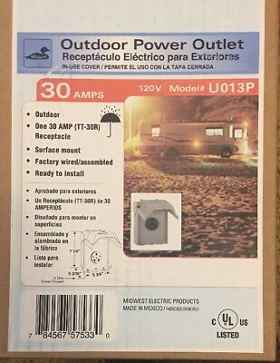 POWER OUTLET PANEL BOX RV Motor 30 Amp Outdoor Unmetered Electrical 120