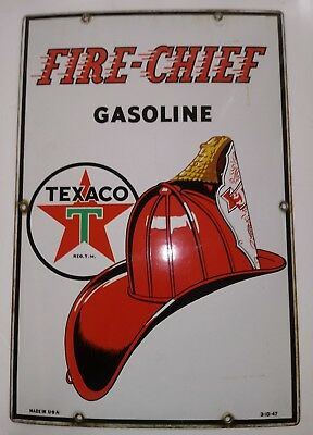 Porcelain sign original Texaco gasoline 1942 fire chief ( Supreme condition)