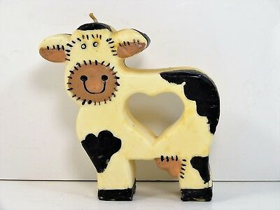 HOLSTEIN COW Vintage Novelty Country Candle, Decorative w/ Heart Love Cows 5.5""