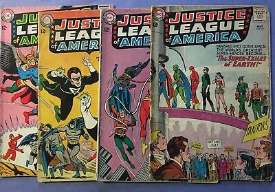 Justice League of America, lot of 4 comic Books, #s 19, 27, 30, and 32