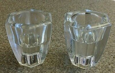 ~Vintage Pair of Heavy Octagon Glass Tea Light/ Candlestick Holders~