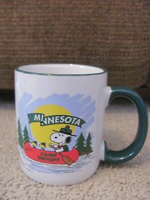 "Minnesota Camp Snoopy Mall of America  Coffee Mug 3.75"" Canoe Woodstock"