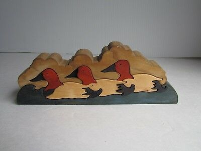 Vintage Hand Made Wooden Decoy Puzzle Signed