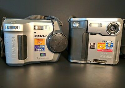 Lot Of 2 Sony FD Mavica MVC-FD5 FD100 Digital Still Cameras 1.3 MP Digital Zoom