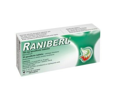 RANIBERL-150 mg coated tablets-For decreasing stomach acids-10 tablets-UK Stock