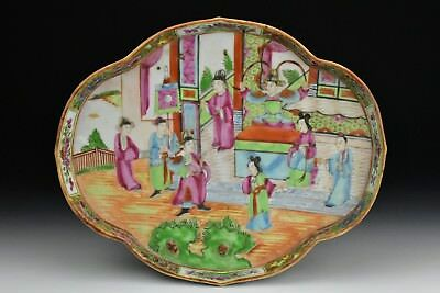 Antique Chinese Export Famille Rose Mandarin Porcelain Tray