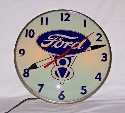 Vintage Pam Advertising Lighted Ford V8 Bubble Clock