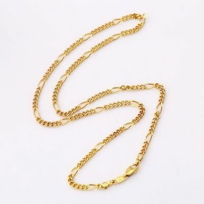 """9ct 9K Yellow """"Gold Filled"""" Men Ladies Lovely Figaro NECKLACE CHAIN. L=18"""" Gift"""