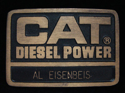 NG27159 VINTAGE 1970s **CAT DIESEL POWER** CATERPILLAR SOLID BRASS BUCKLE