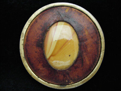 PE15104 VINTAGE 1970s **ORANGE AGATE STONE** ART LEATHER SOLID BRASS BELT BUCKLE
