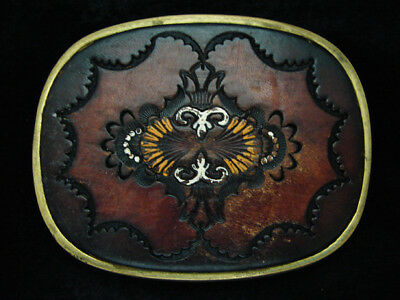 PF01130 VINTAGE 1970s **BAROQUE ORNAMENTAL ART** LEATHER SOLID BRASS BELT BUCKLE