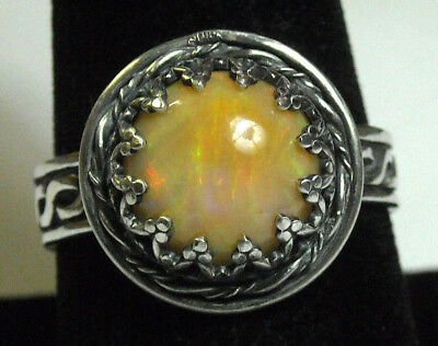 925 Sterling Silver Ring Size 9 Swirly Color Natural Fire Opal Handmade NEW