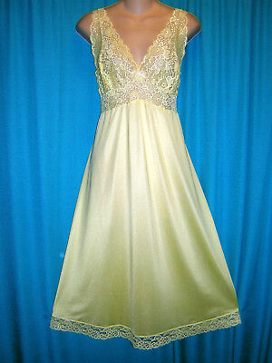 *excellent Vintage Yellow Shadowline Ballerina Length Nightgown **44 Tall**