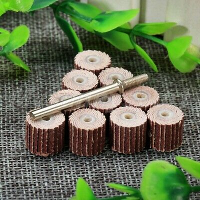 "UK Stock 240 Grit Dia 3/8"" Sanding Sandpaper Flap Wheel Set Rotary Tool 10Pcs"
