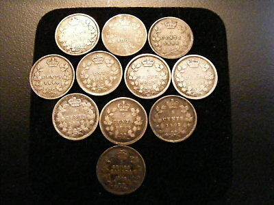 Collection Of 11 Canadian Very Low Mintage Silver Nickels * 1882 H - 1905 *