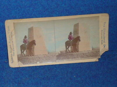 NATIVE AMERICAN INDIAN Scout Curley CUSTER MONUMENT Stereoscopic View Card PHOTO