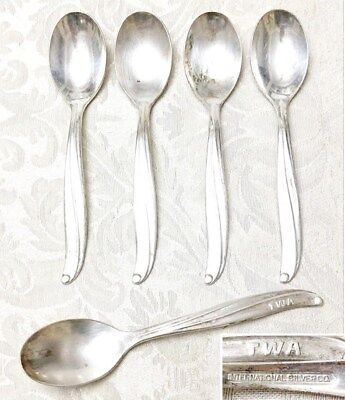 Lot of 5 Vintage International Silver Co. TWA Airline Spoons, 5""