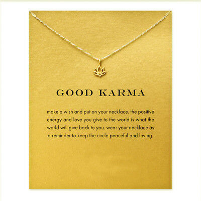 Good Karma Lotus Pendant Necklace Clavicle Statement lucky jewelry (With Card )