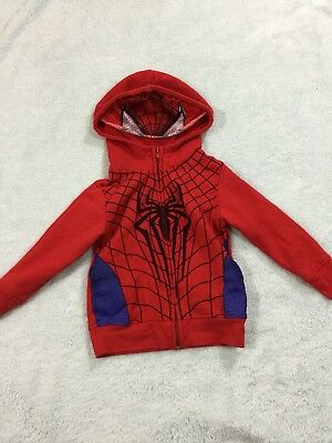 Spider Man Jacket Boys Size 4t With Mesh Face Hood