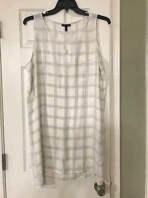 88d660394d993 L  278 NWT EILEEN FISHER SOFT WHITE PlLAID PRINTED SILK GEORGETTE CREPE  TUNIC