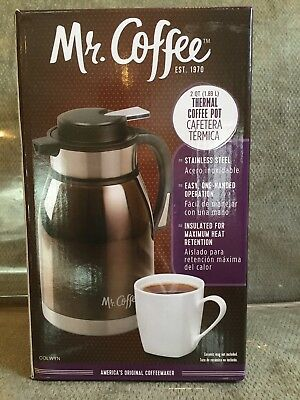 MR. COFFEE 2 Qt. (Quart) Stainless Steel THERMAL COFFEE POT Carafe - NEW in BOX
