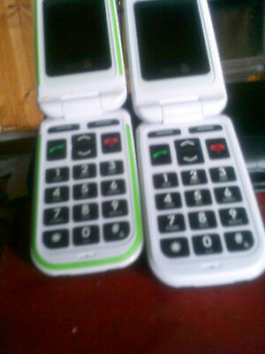 Two Doro  black&white Flip phones mobile phone