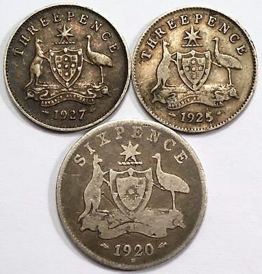 1920 Australia Sixpence & 1925 Threepence - Scarce Sterling Silver Coins