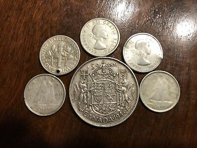 5 Canadian 80% 1 US 90% silver coins, Not all junk silver, Lot CA:825