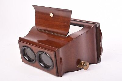 Wooden Stereoviewer for 8, 5x17 cm Glass and Card Stereoview Very Good Condition