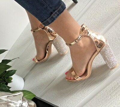 b54f09cb3430 Womens Girls Uk Rose Gold Diamante Block Heels Ankle Party Sandals Shoes  Size