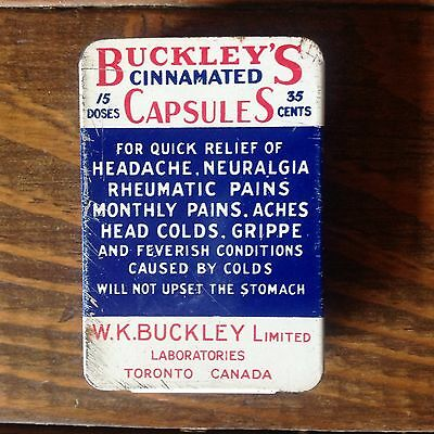 Buckley's Cinnamated Capsules Tin Can W. K. Buckley Limited Toronto Canada 1940s