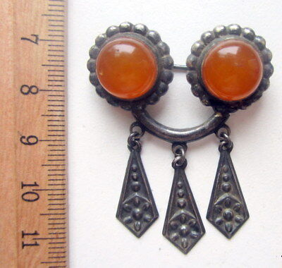 Antique Vintage Ornament Silver Brooch Pin Fibula With Amber And Pendants (2)