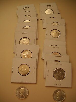 (20) 1964 Canada 25c Coin Lot - BEAUTIFUL - 80% Silver - Uncirculated Condition