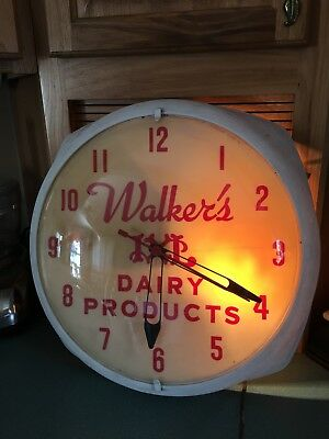 Rare Walkers Dairy Products Advertising Clock Warren Dunkirk Kane Pa Works Nr