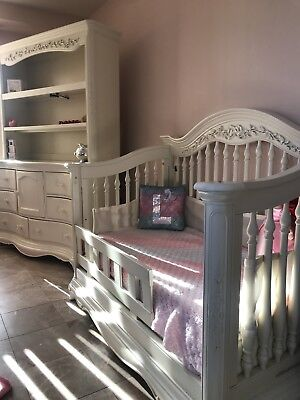 Victoria ✨ convertible crib, Chest Dresser Solid Wood Great Carved Detail $2400
