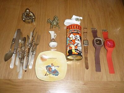 small Job lot of vintage and modern items. Brass .watch.Money tin and china