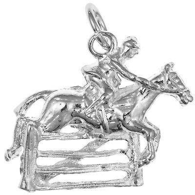 Sterling Silver Horse and Jockey Pendant  /Charm Equestrian Jewellery