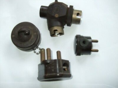 bakelite collection of light switch and plugs