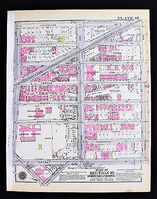 1928 Bronx New York Map Hunts Point Garrison Square East Bay Ave Spofford Ave