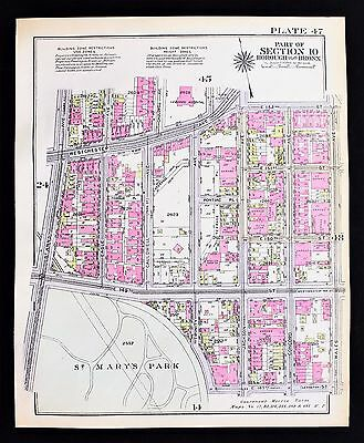 1928 Bronx New York Map St Mary's Park Westchester Prospect Ave Austin Place