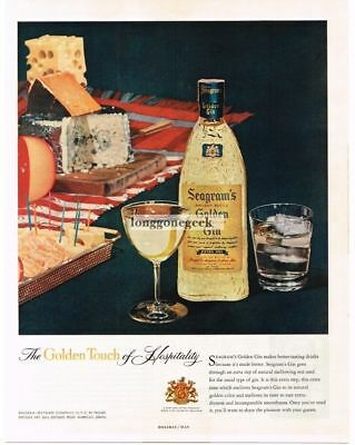 1957 SEAGRAM'S Golden Gin Cheese Cracker Plate Vtg Print Ad