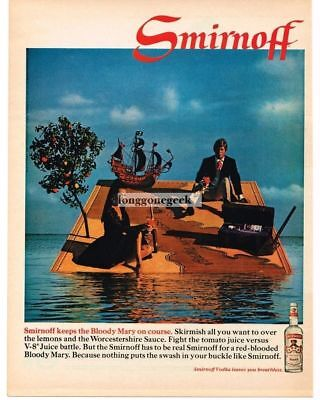 1968 SMIRNOFF Vodka Shipwrecked Couple Drinking Boody Mary Vtg Print Ad
