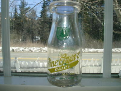 Rare Vintage Half Pint Size Pine Grove Dairy Wells River Vt Milk Bottle.
